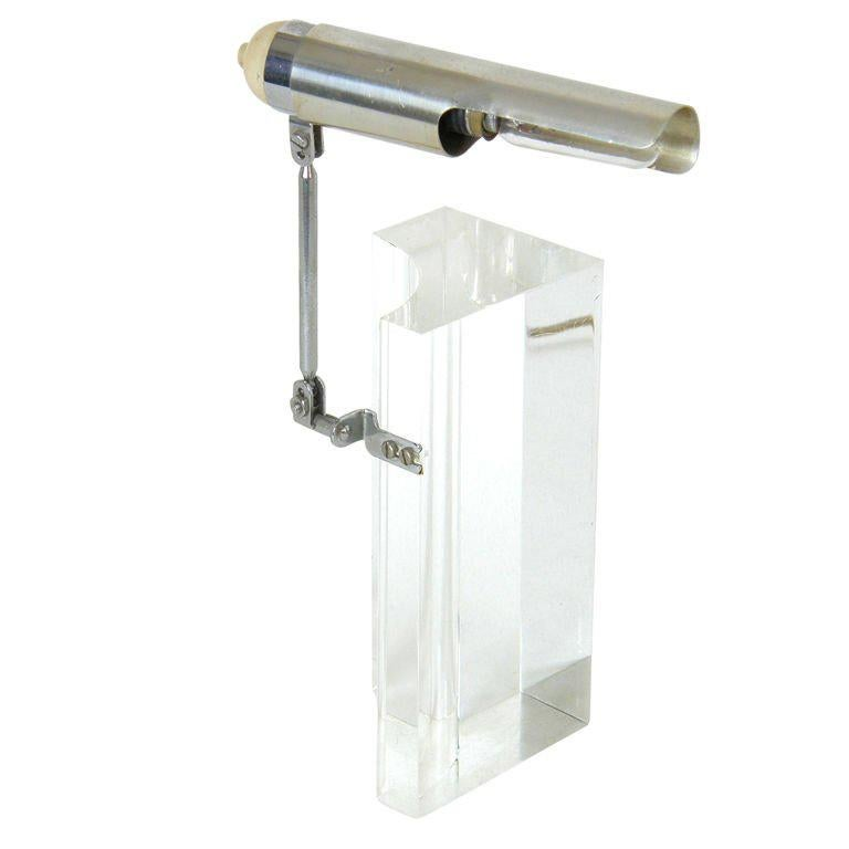 Arteluce Table Lamp by Filippo Panseca Acrylic Block with Articulated Arm