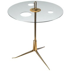 Arteluce Serving Stand in Brass and Glass