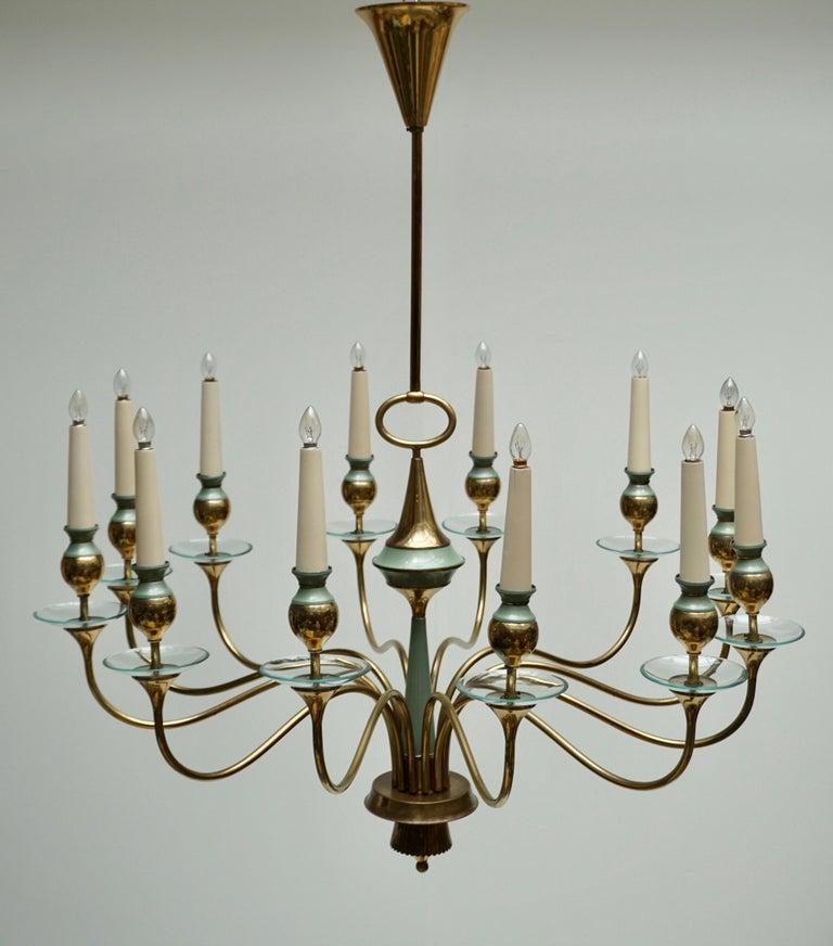 Italian Arteluce Style Twelve Arm Chandelier in Brass and Glass, 1950s For Sale