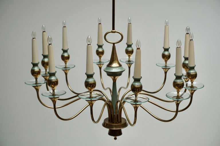 20th Century Arteluce Style Twelve Arm Chandelier in Brass and Glass, 1950s For Sale