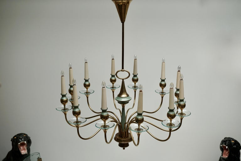 Arteluce Style Twelve Arm Chandelier in Brass and Glass, 1950s For Sale 1