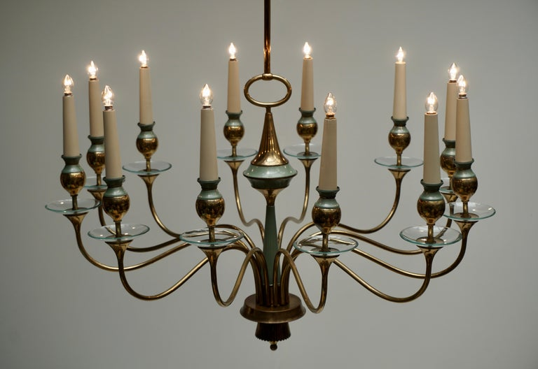 Arteluce Style Twelve Arm Chandelier in Brass and Glass, 1950s For Sale 2