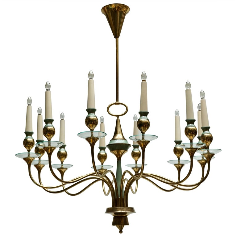 Arteluce Style Twelve Arm Chandelier in Brass and Glass, 1950s For Sale