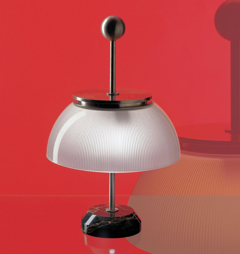 Contemporary Artemide Alfa LED-T Table Lamp in White and Marble Base by Sergio Mazza For Sale
