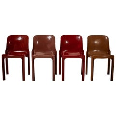 Artemide by Vico Magistretti Selene Red Stacking Chairs, 1960's, Set of 4