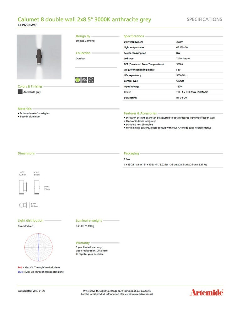 Modern Artemide Calumet 8 Double 3000K Wall Light in Anthracite Grey For Sale