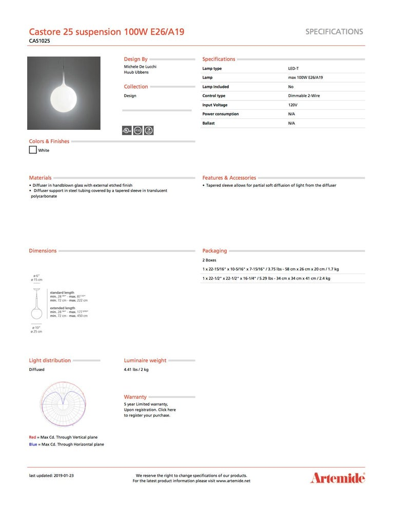 Italian Artemide Castore 25 100W E26/A19 Suspension Light For Sale