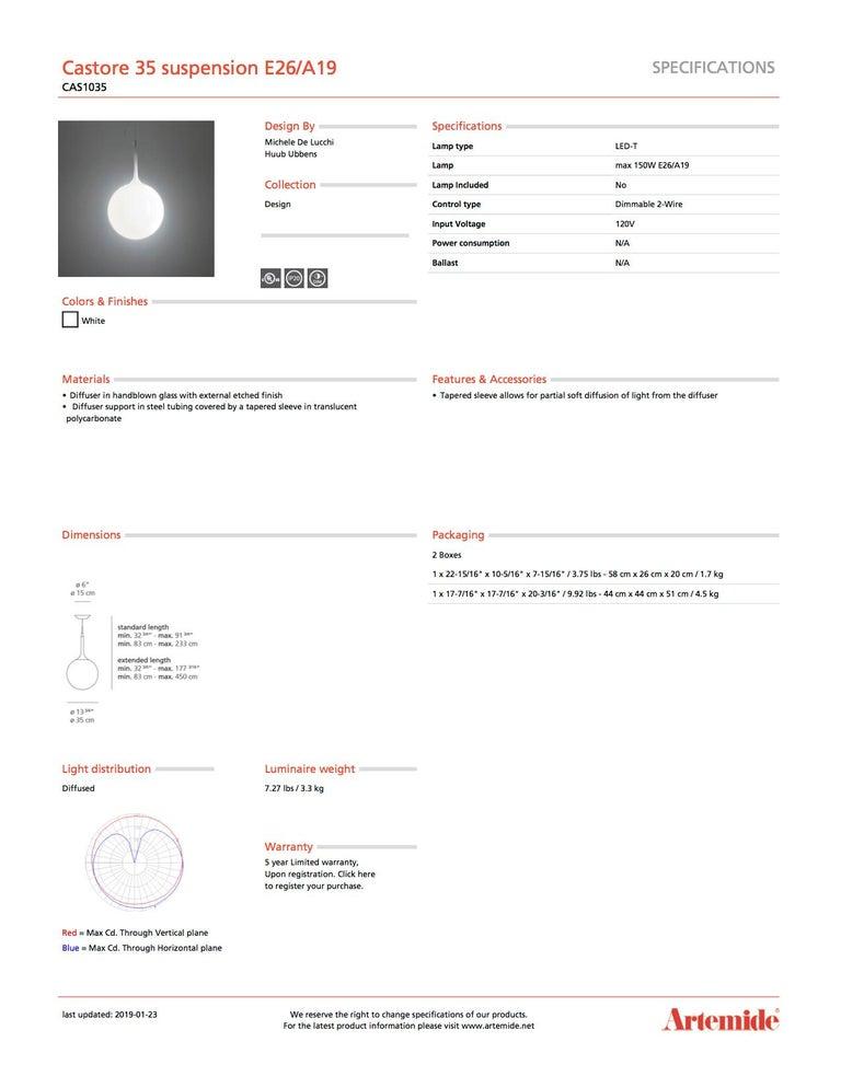 Italian Artemide Castore 35 E26 or A19 Suspension Light in White For Sale