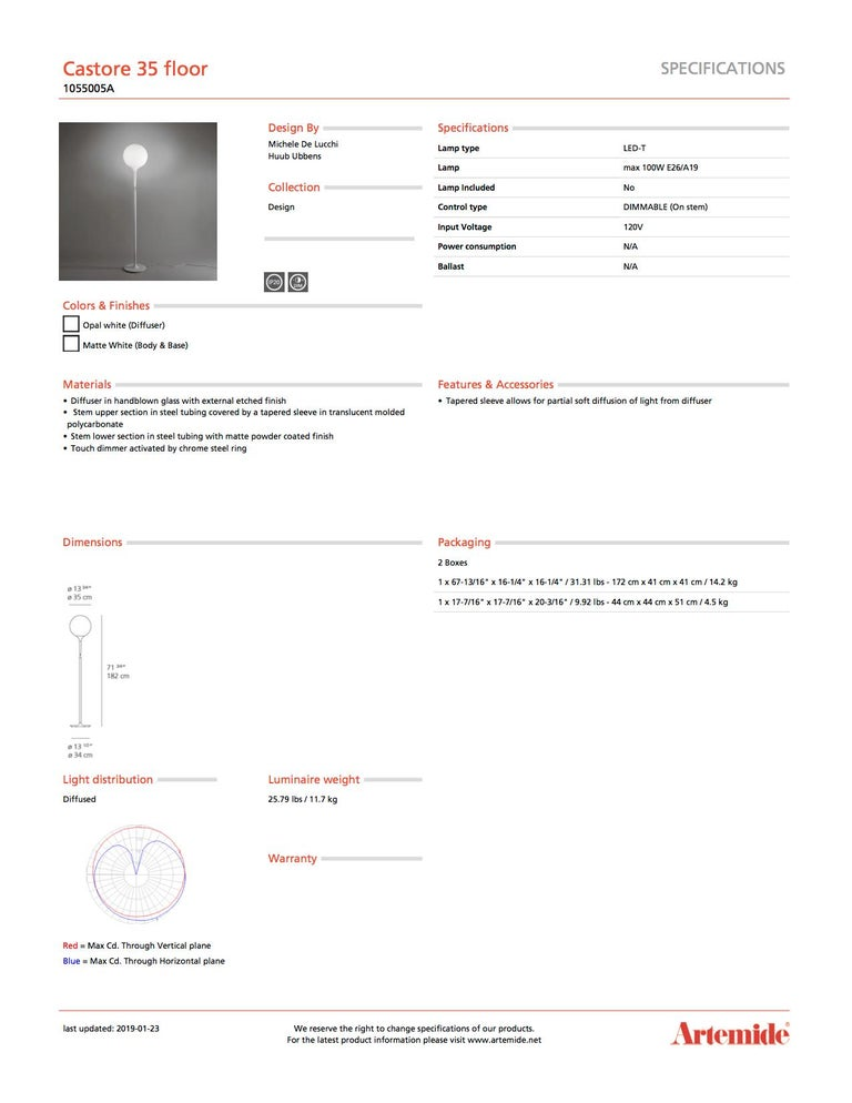 Artemide Castore 35 Floor Lamp in White In New Condition For Sale In Hicksville, NY