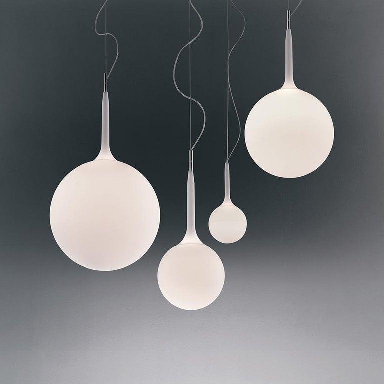 Modern Artemide Castore 42 Suspension Light in White with Extension For Sale