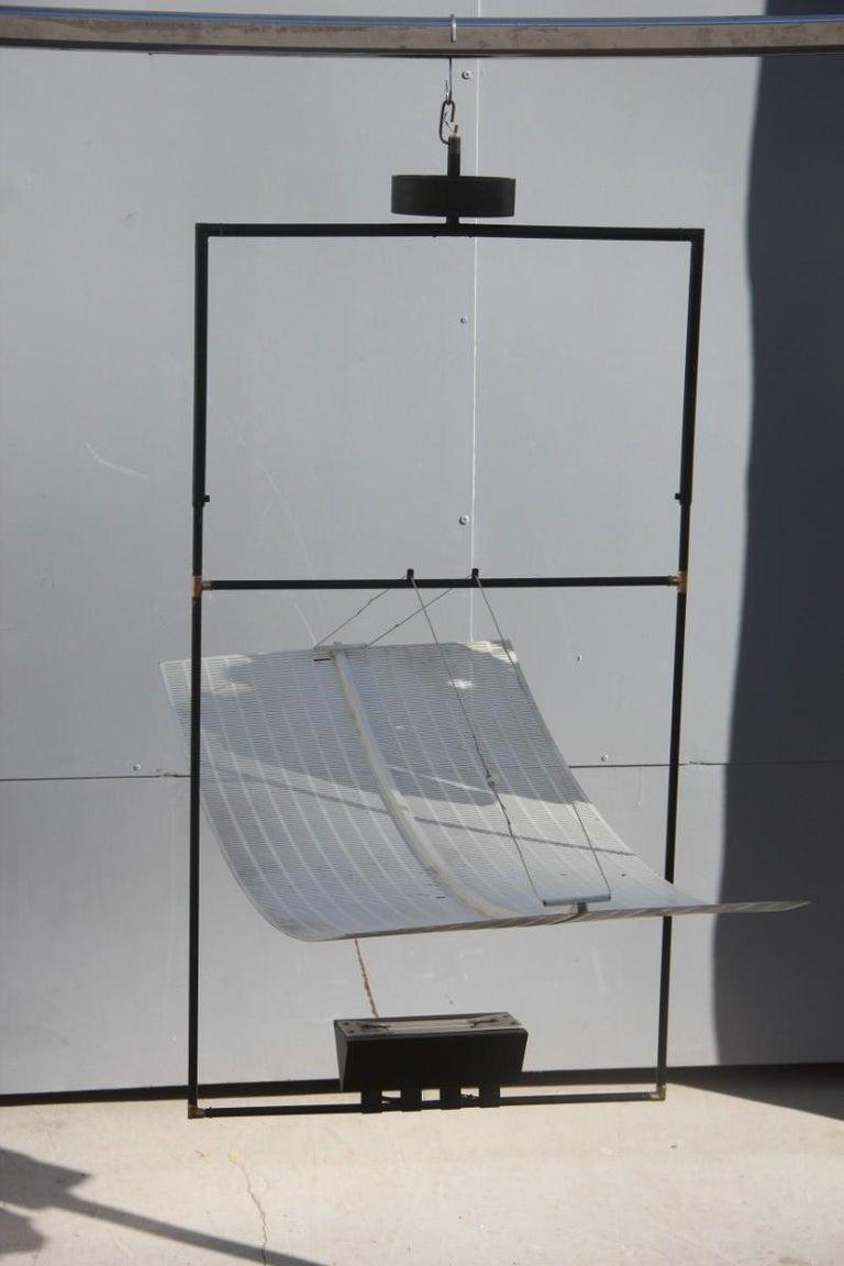 Artemide ceiling lamp Zafiro Italian sculptural design, Mario Botta, 1980. Variable height from cm.88 to cm.100.