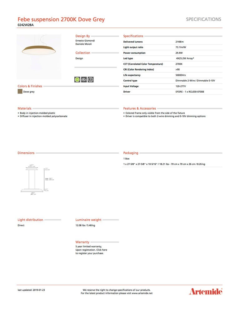 Artemide Febe 2700K Suspension Light in Grey In New Condition For Sale In Hicksville, NY