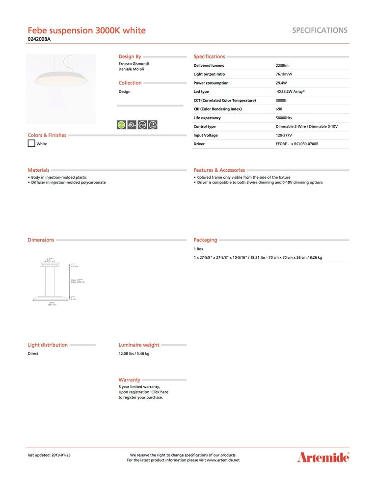Artemide Febe 3000K Suspension Light in White In New Condition For Sale In Hicksville, NY