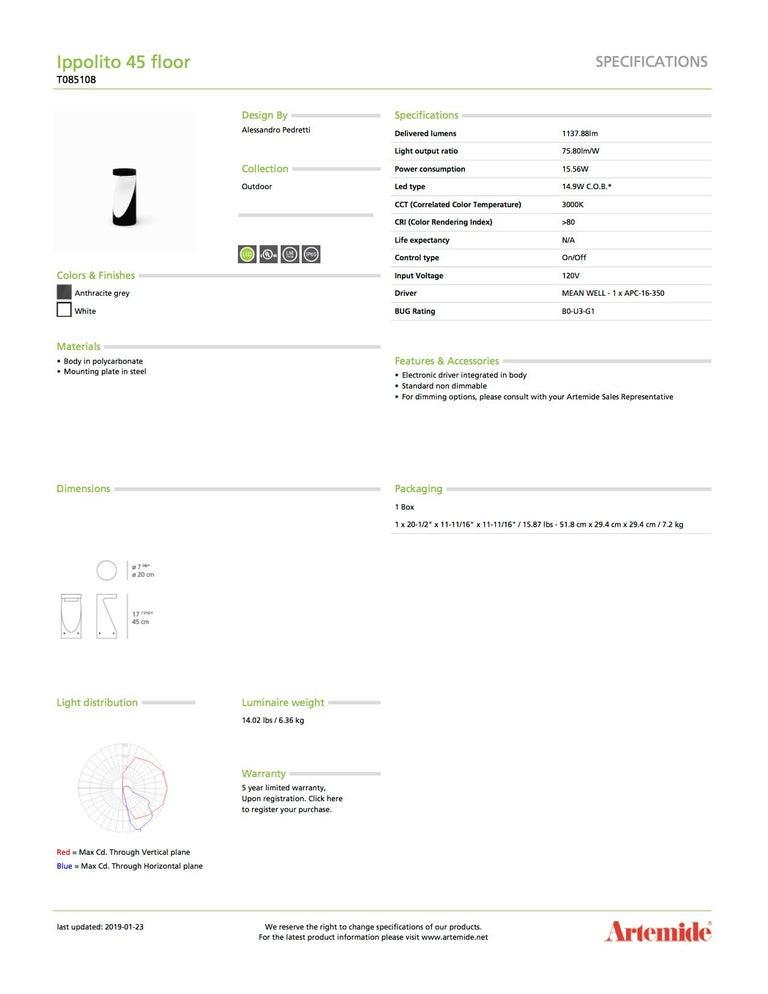 Italian Artemide Ippolito 45 Floor Lamp For Sale