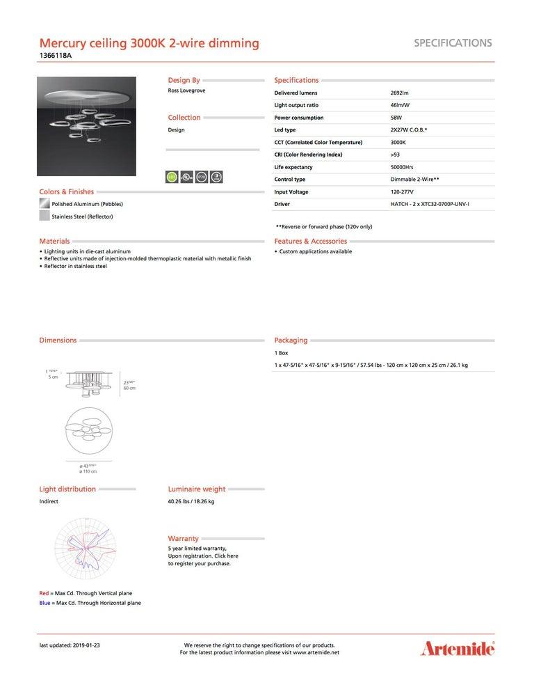 Italian Artemide Mercury 3000K Ceiling Light with Dimmer For Sale