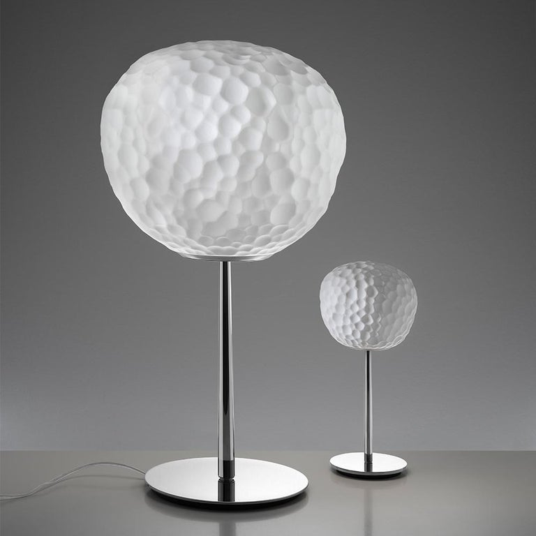 Italian Artemide Meteorite 15 Halogen Table Lamp with Stem in Chrome by Pio & Tito Toso For Sale
