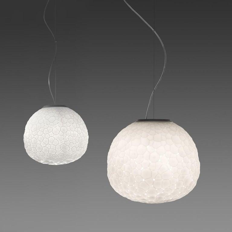Modern Artemide Meteorite 48 E26 Pendant Light in White by Pio & Tito Toso For Sale