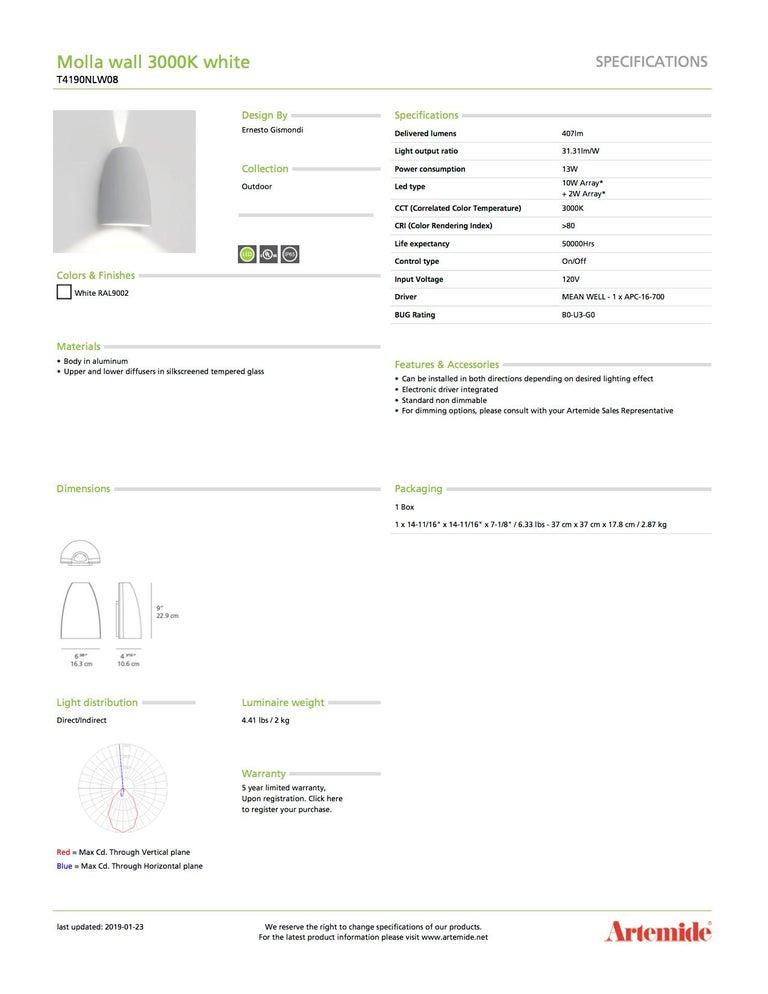 Italian Artemide Molla 3000K Wall Light in White For Sale