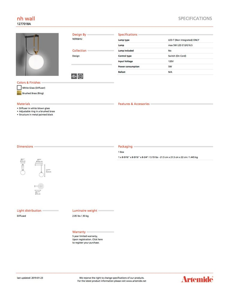 Contemporary Artemide NH Wall Light For Sale