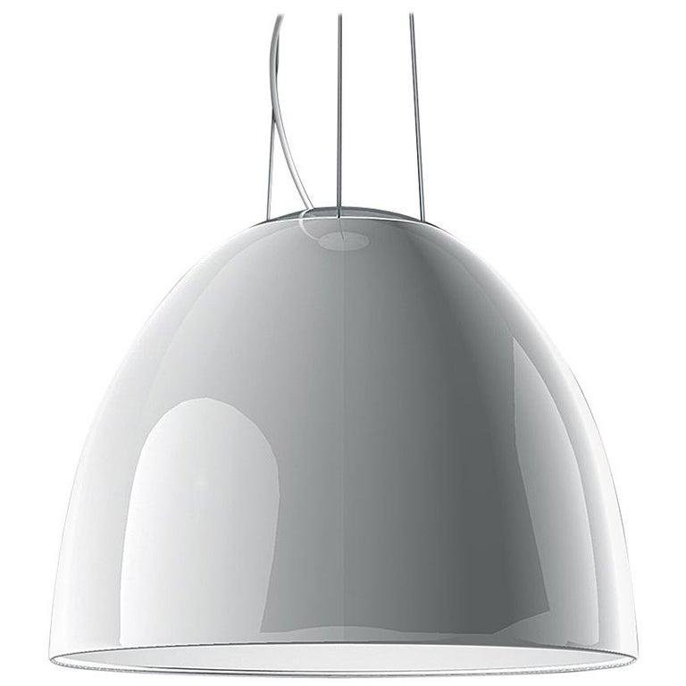 Artemide Nur 150W E26/A19 Suspension Light in Glossy White For Sale