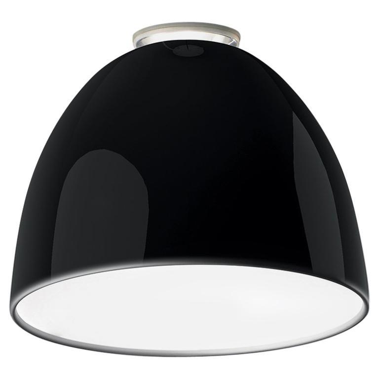 Artemide Nur Led Dimmable Ceiling Light in Glossy Black by Ernesto Gismondi For Sale
