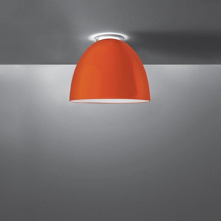 Modern Artemide Nur Led Dimmable Ceiling Light in Glossy Orange by Ernesto Gismondi For Sale