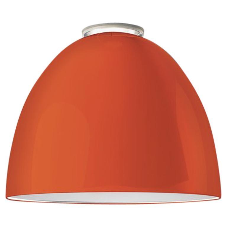 Artemide Nur Led Dimmable Ceiling Light in Glossy Orange by Ernesto Gismondi For Sale