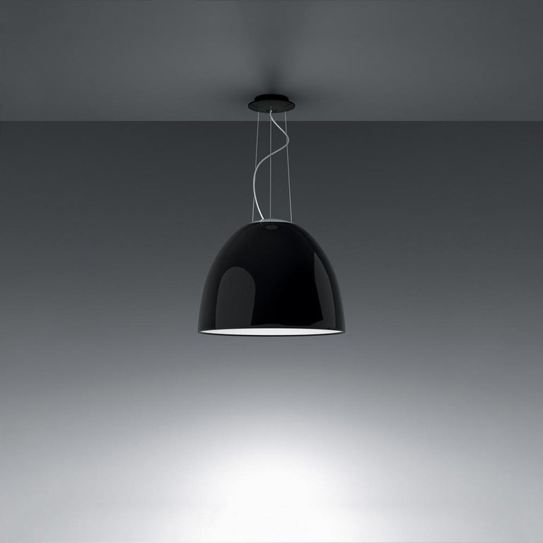 Modern Artemide NUR LED Dimmable Pendant Light in Glossy Black w/ Extension by Ernesto  For Sale