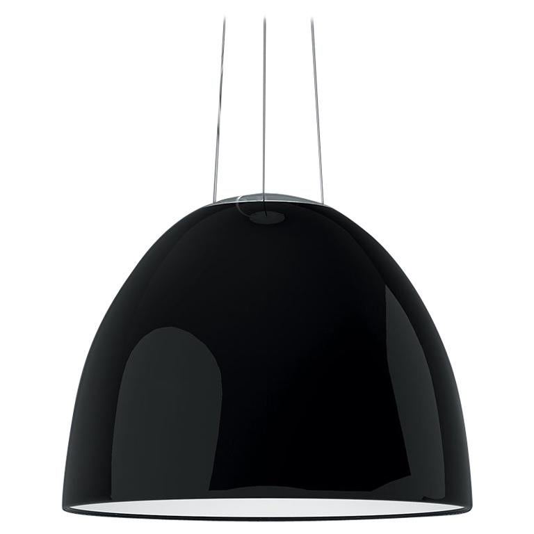 Artemide NUR LED Dimmable Pendant Light in Glossy Black w/ Extension by Ernesto  For Sale