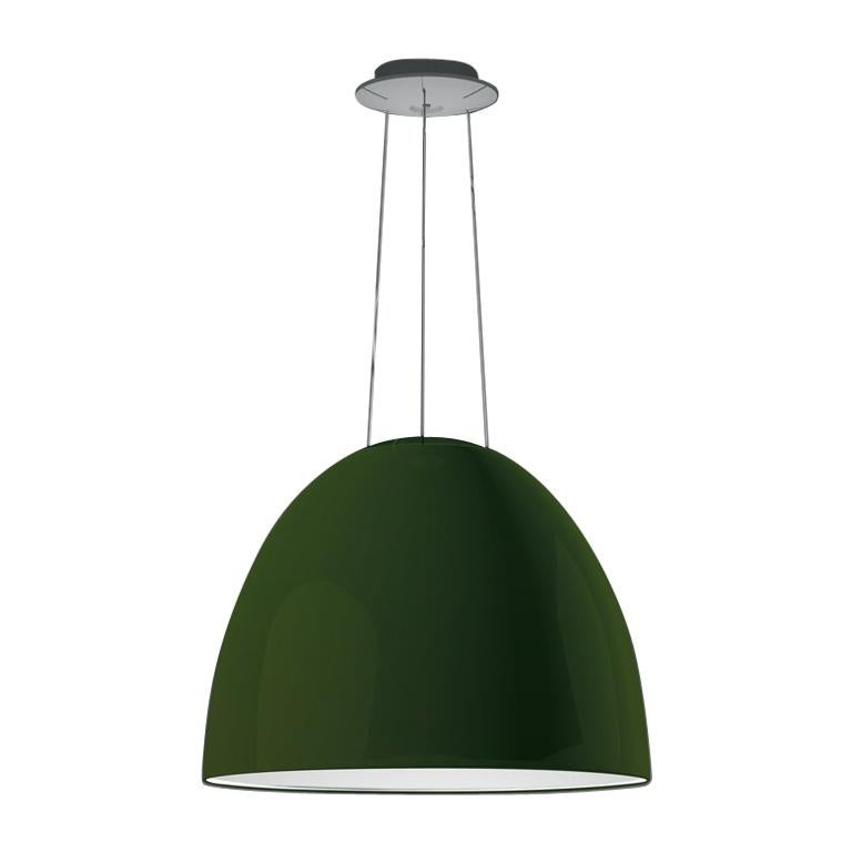 Artemide NUR LED Dimmable Pendant Light in Glossy Green w/ Extension by Ernesto  For Sale