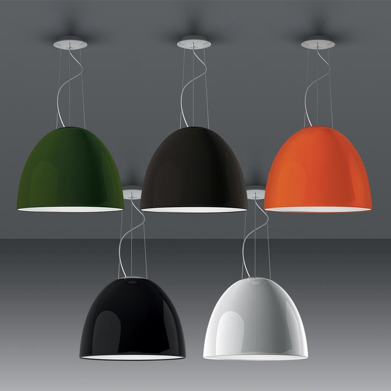 Modern Artemide NUR LED Dimmable Pendant Light in Glossy Orange w/ Extension by Ernesto For Sale