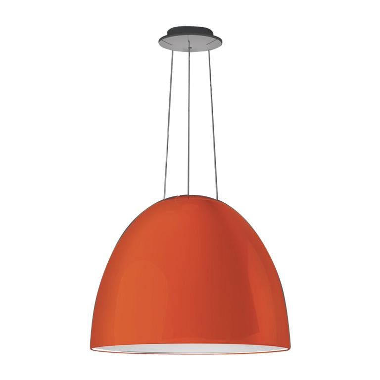 Artemide NUR LED Dimmable Pendant Light in Glossy Orange w/ Extension by Ernesto For Sale