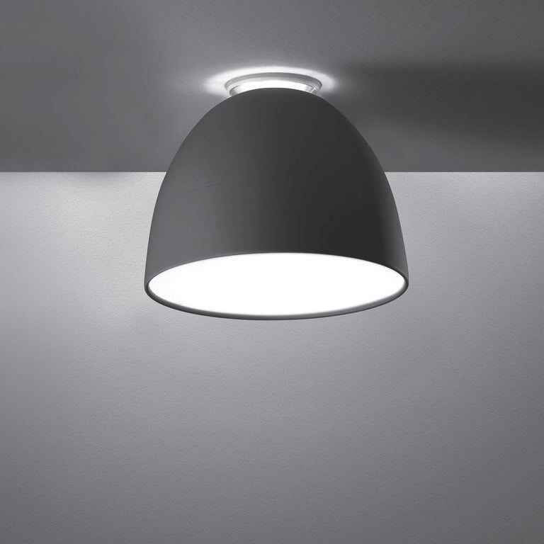Modern Artemide Nur Mini LED Dimmable Ceiling Light in Anthracite Grey by Ernesto Gismo For Sale