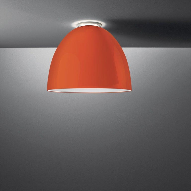 Modern Artemide Nur Mini LED Dimmable Ceiling Light in Glossy Orange by Ernesto Gismond For Sale