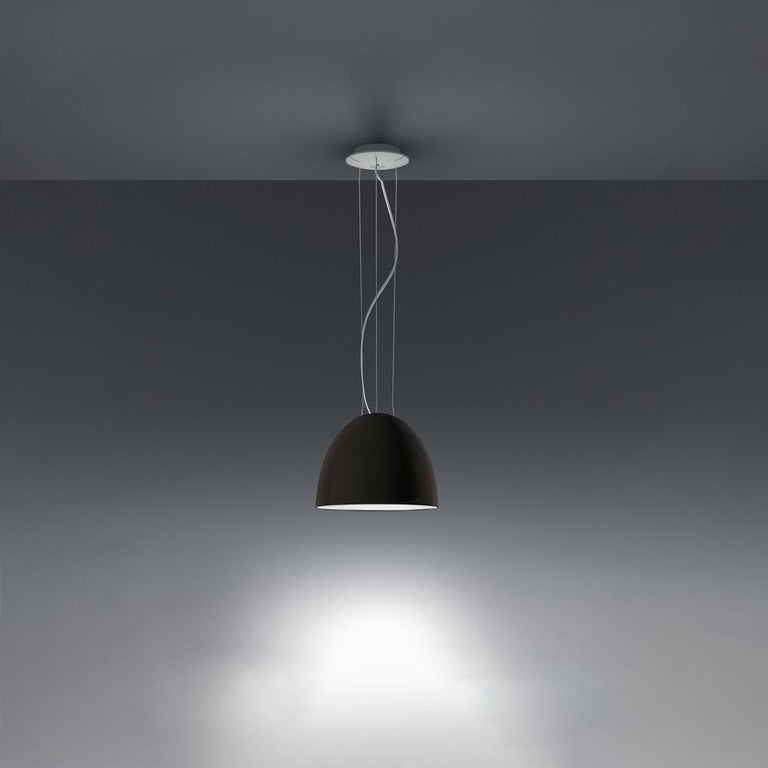 Modern Artemide Nur Mini LED Dimmable Pendant Light in Anthracite Grey by Ernesto Gismo For Sale
