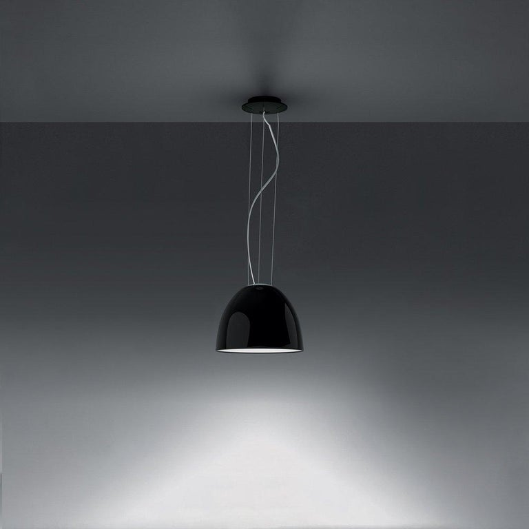 Modern Artemide NUR Mini LED Dimmable Pendant Light in Glossy Black w/ Extension by Ern For Sale