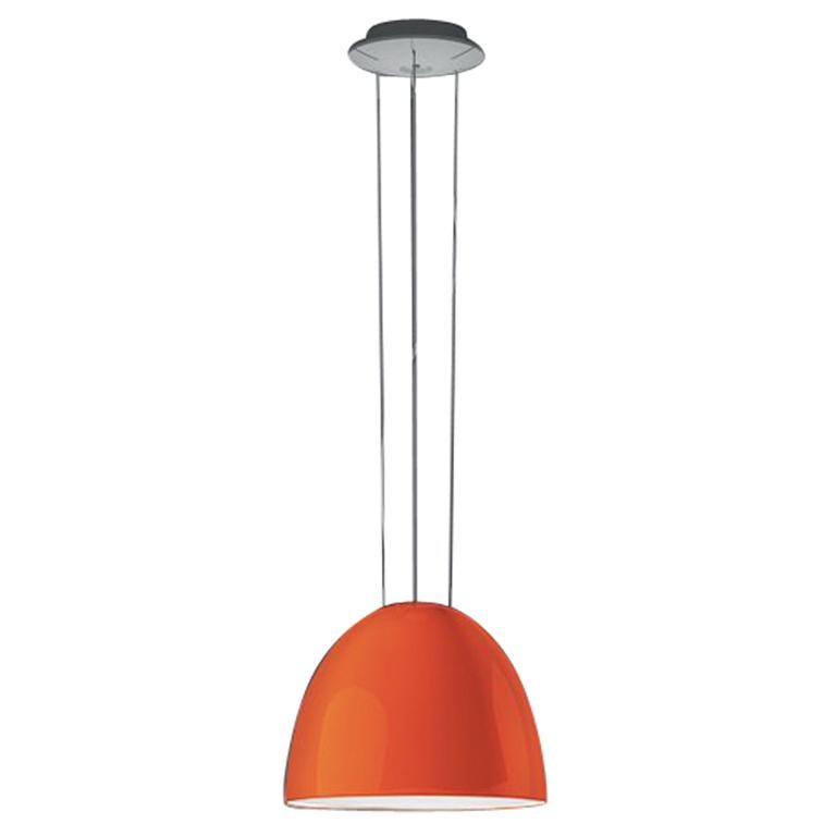 Artemide NUR Mini LED Dimmable Pendant Light in Glossy Orange w/ Extension by Er For Sale