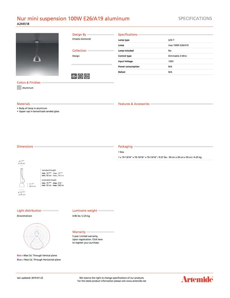 Italian Artemide Nur Mini Suspension Light 100W E26/A19 in Aluminum For Sale