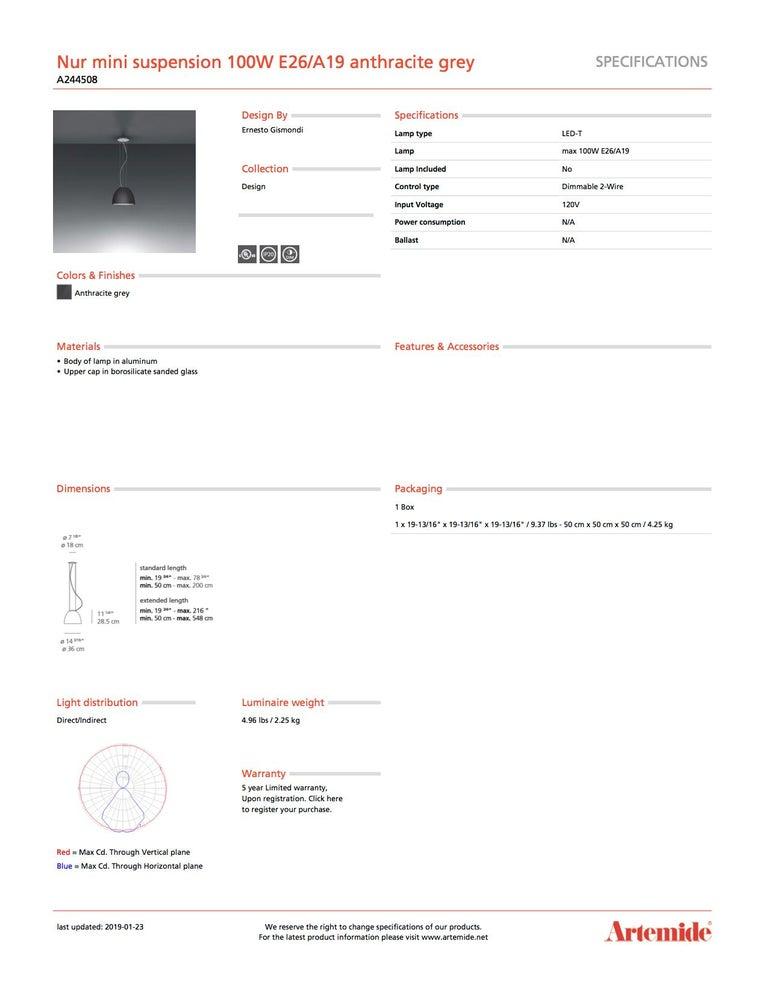 Italian Artemide Nur Mini Suspension Light 100W E26/A19 in Anthracite Grey For Sale