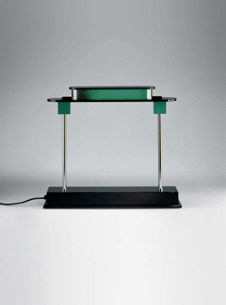 Modern Artemide Pausania LED Table Lamp in Black and Green by Ettore Sottsass For Sale