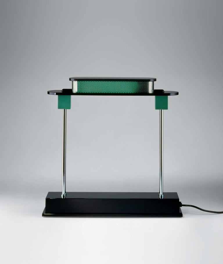 Italian Artemide Pausania LED Table Lamp in Black and Green by Ettore Sottsass For Sale