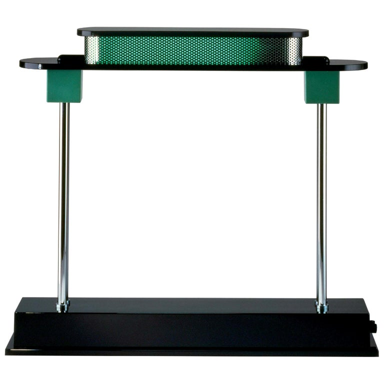 Artemide Pausania LED Table Lamp in Black and Green by Ettore Sottsass For Sale