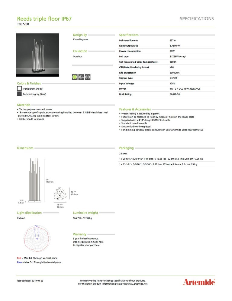 Italian Artemide Reeds Triple Floor Lamp For Sale