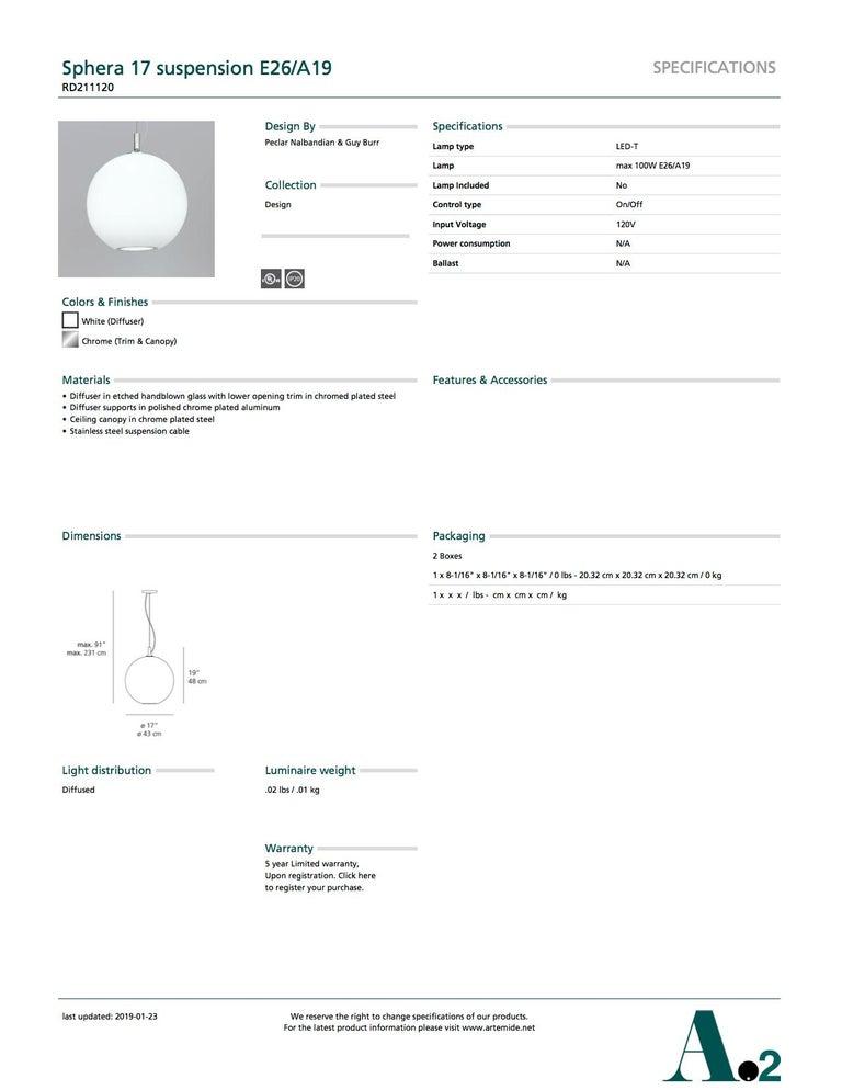 Modern Artemide Sphera 17 E26/A19 Suspension Light in White For Sale