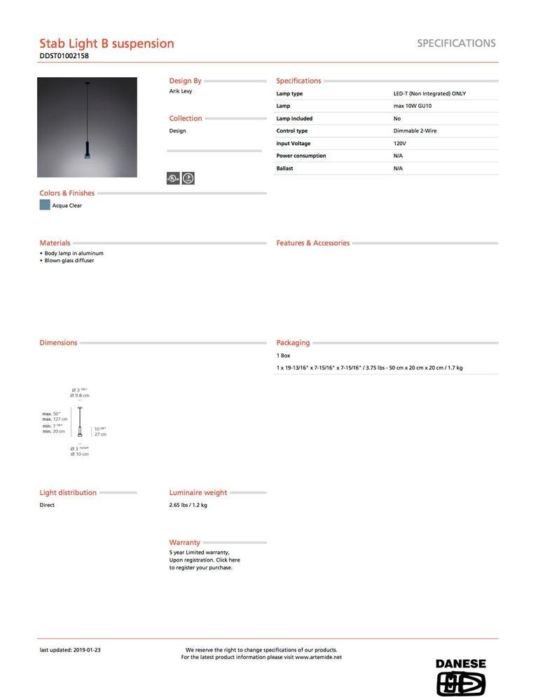 Modern Artemide Stablight B Suspension Light in Aqua Blue For Sale