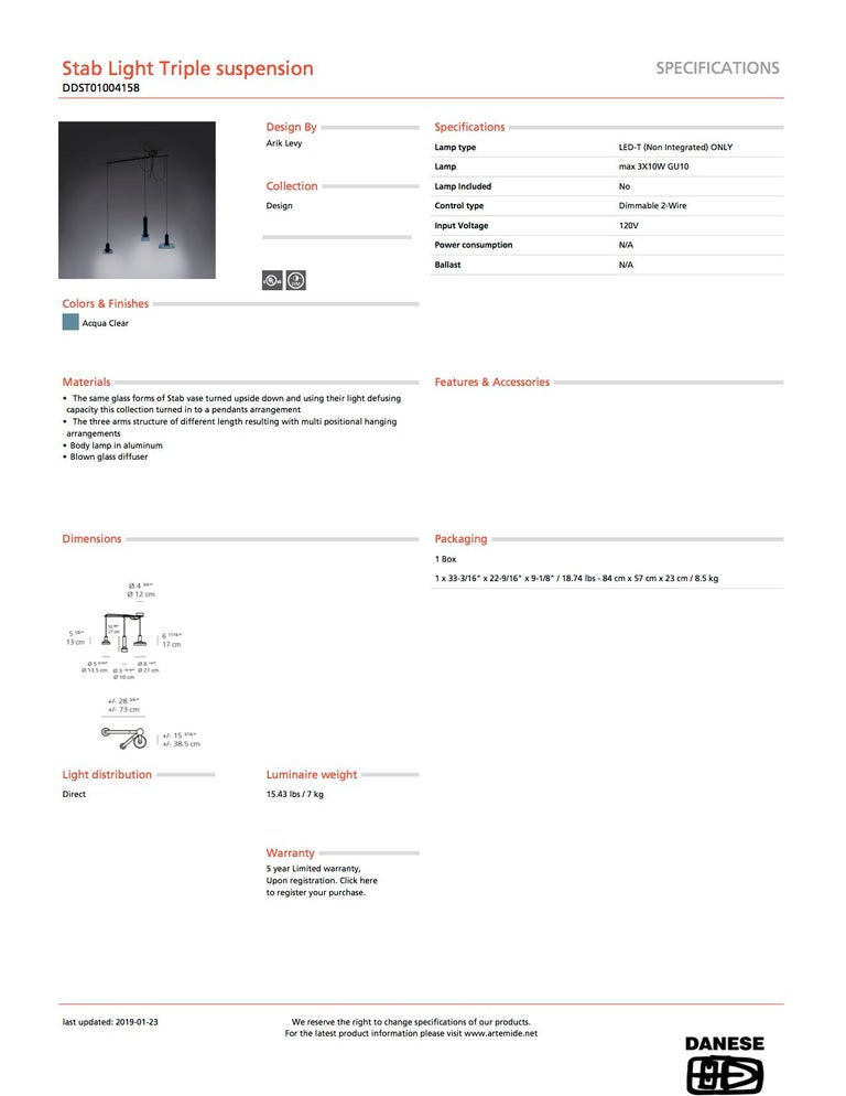 Modern Artemide Stablight Triple Suspension Light Aqua Blue For Sale