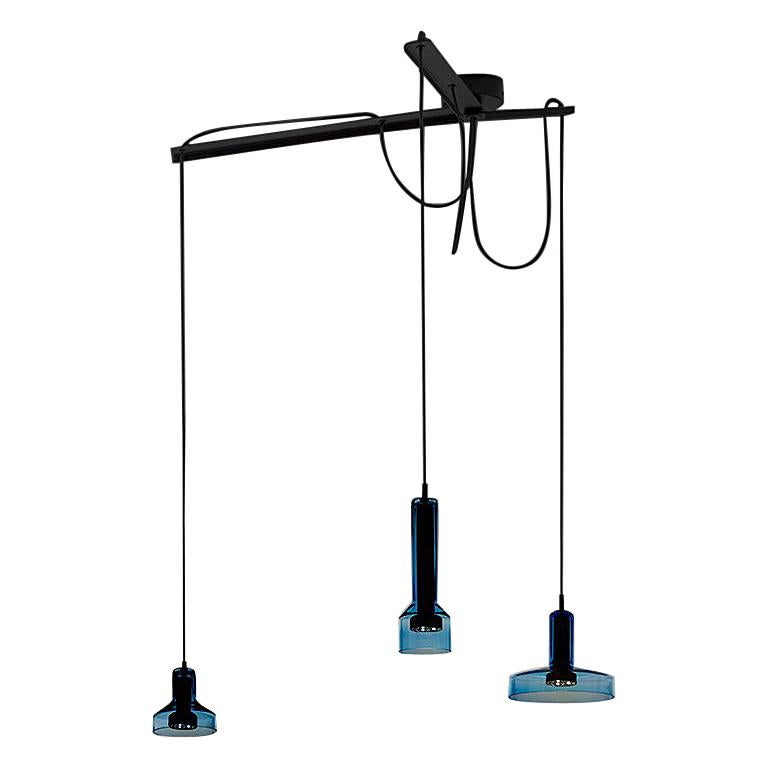 Artemide Stablight Triple Suspension Light Aqua Blue For Sale