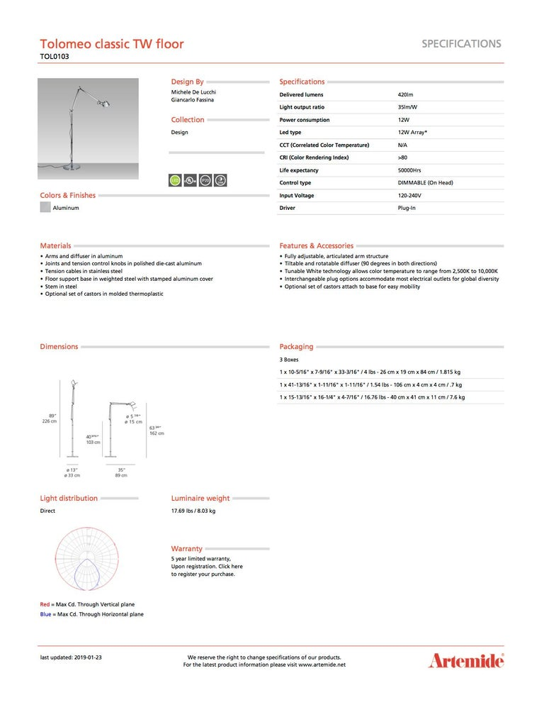 Modern Artemide Tolomeo Classic TW Floor Lamp in Aluminum For Sale