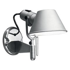 Artemide Tolomeo Classic Wall Spot Light with Switch in Aluminum