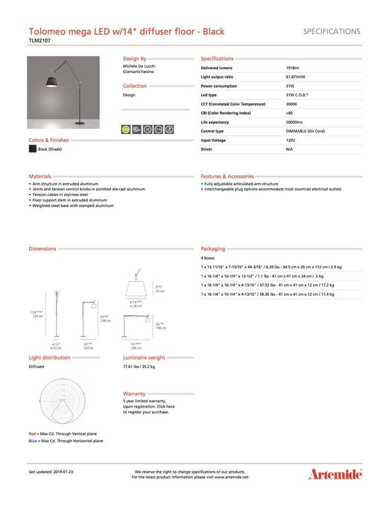 Modern Artemide Tolomeo Mega LED Floor Lamp in all Black For Sale